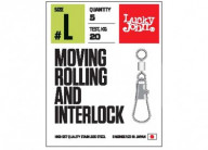 Вертлюги c застежкой Lucky John Moving Rolling and Interlock